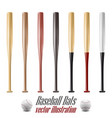 baseball and baseball bats set isolated on white vector image