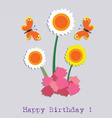 birthday flower and butterfly vector image vector image