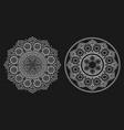 boho white floral mandala line art set vector image