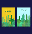 cacti plants card or flyer vector image vector image