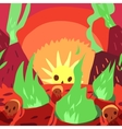 Cartoon sunrise in hell flat greeting card vector image vector image