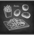 chalk sketch fried potatoes vector image