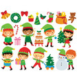 christmas elves clipart set vector image vector image