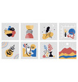 collection hand drawn modern colorful art vector image