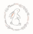 cute bunny with spring wreath hand vector image vector image
