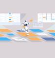 cute robot chatbot sending and receiving envelopes vector image