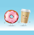 donut and coffee character vector image vector image