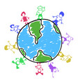 doodle color kids around world vector image vector image