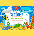 education diploma for school underwater animals vector image vector image