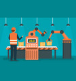 factory assembly line concept background flat vector image