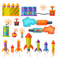 fireworks pyrotechnics rocket and flapper birthday vector image vector image
