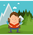 Funny man tourist in cartoon style in forest with vector image vector image