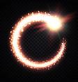 gold comet tail frame on transparent magic vortex vector image