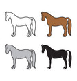 group of horse on a white background wild animals vector image vector image