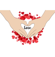 hand make heart shape Happy Valentines Day vector image vector image