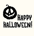 happy halloween title and pumpkin lantern on white vector image vector image