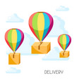 hot air balloons with delivery boxes vector image vector image