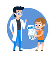 kid student with robot and young man teacher vector image vector image