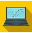 Laptop with business graph icon flat style vector image vector image
