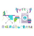 laundry room washing machine basket iron vector image