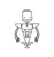 line technology robot with machine robotic body vector image