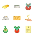 Money icons set cartoon style vector image vector image