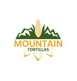 mountain with corn and chips design template vector image