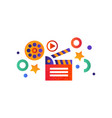 movie clapperboard on a white vector image vector image