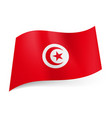 national flag of tunisia crescent moon and star vector image vector image