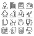 office icons set on white background line style vector image vector image
