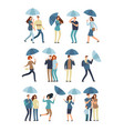 people holding umbrella walking outdoor in rainy vector image