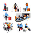 people in airport with bags airplane crew set vector image vector image