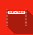 ribbon in finishing line icon with long shadow vector image vector image