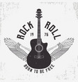 rock and roll t-shirt design with guitar and wings vector image vector image
