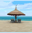 seaside with beach umbrella and sun loungers vector image vector image