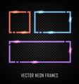 set colorful neon frames on dark vector image vector image
