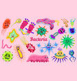 set of bacteria characters cute germ and micro vector image