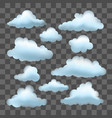 set of clouds on transparent effect vector image