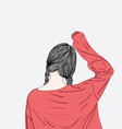 she is stretching her line up in the morning vector image vector image