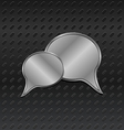 shiny metallic speech bubbles on aluminum backgrou vector image