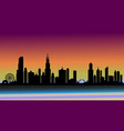 sunset over california in silhouette vector image vector image