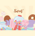sweet products bubble gum machine ice cream donut vector image