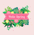 template card hello spring with tropical leafs vector image