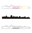 Wellington skyline linear style with rainbow vector image vector image