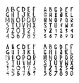 Fonts collection with rough grungy decorative vector image