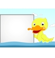 cute duck with blank sign vector image