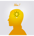 Mans head with bulb vector image