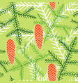 seamless pattern of fir branches and cones vector image