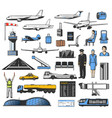 airplane aviation airport pilot luggage icons vector image