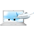 Airplane flying out of computer screen vector image vector image
